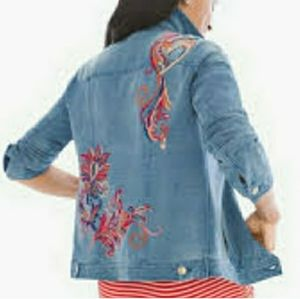Chico's French Terry indigo embroidered jacket